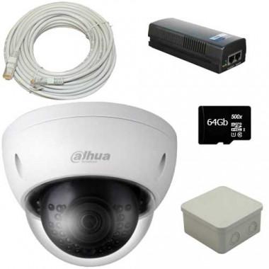 Комплект видеонаблюдения с 1 камерой Dahua DH-IPC-HDBW1230E-S-S2 (2.8 мм) + кабель + POE инжектор + карта памяти