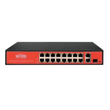 Wi-tek WI-PS518GV 16-ти портовый неуправляемый POE коммутатор