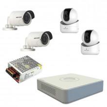 Комплект IP Hikvision - 2 уличные камеры + 2 внутренние