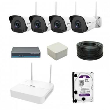 Комплект видеонаблюдения - на 4 WiFi камеры ZetPro