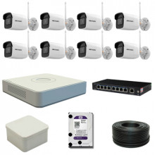 8 уличных WiFi камер Hikvision 4МП