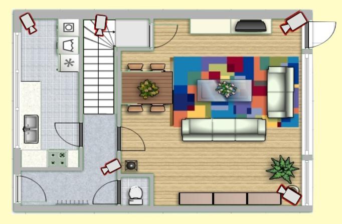 Вариант размещения видеокамер в квартире