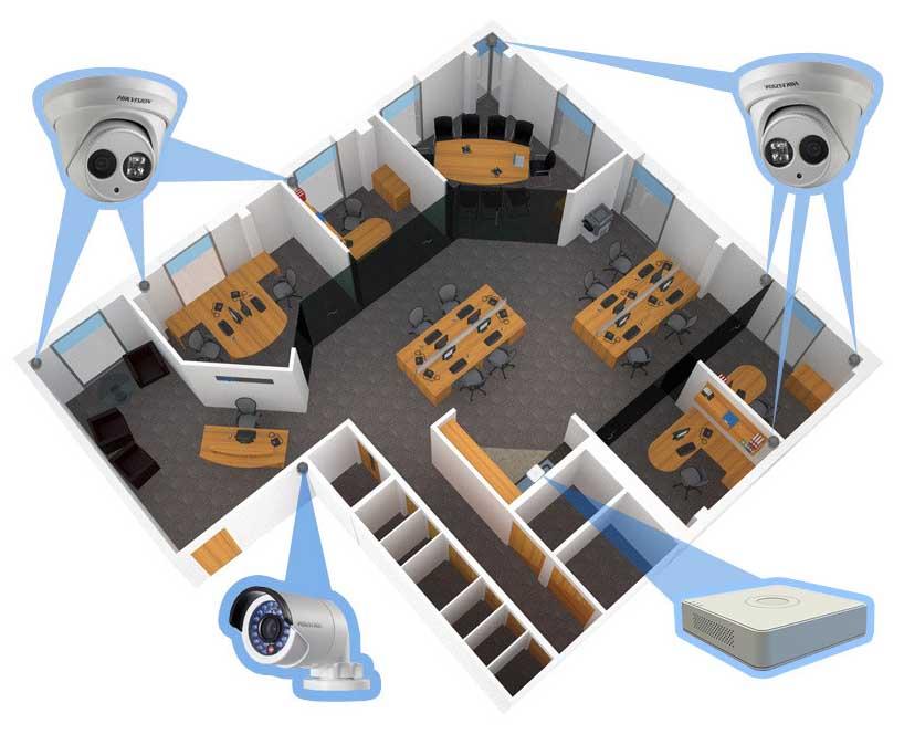 Схема размещения видеокамер в офисе